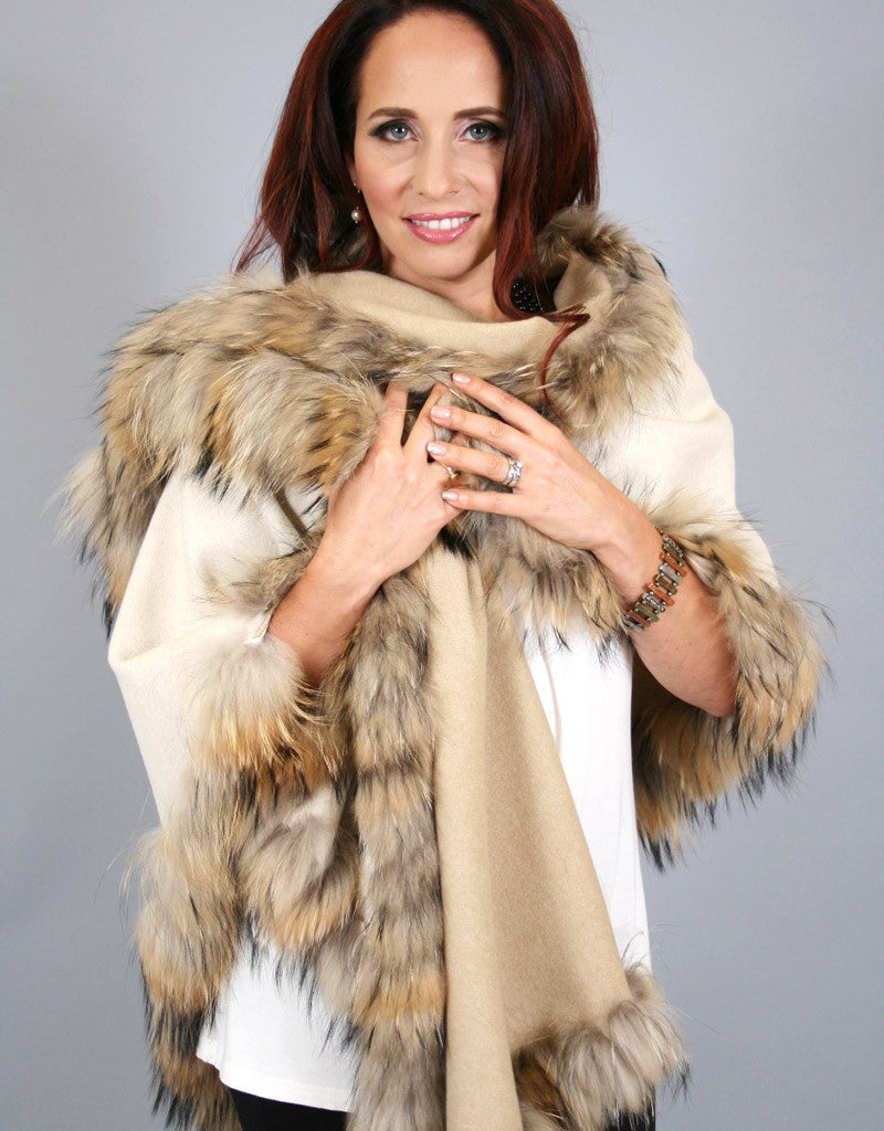 Fur Whip Wool Reversible Triangle Cape-Camel Cream/ Natural