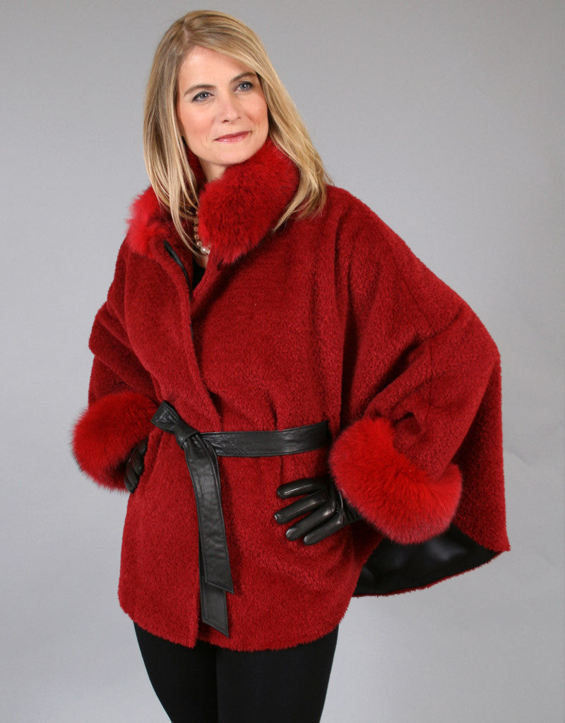 Belted Alpaca Cape/ Jacket-Red