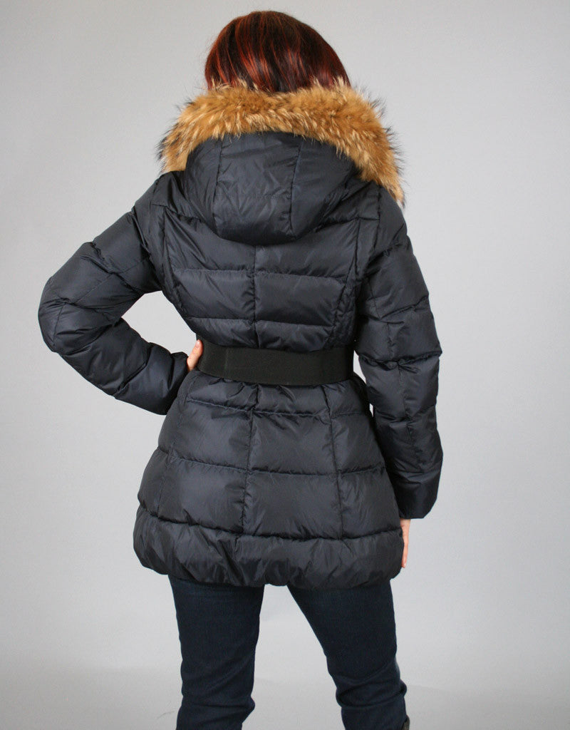 Down Filled Fitted Jacket with Flare-Navy