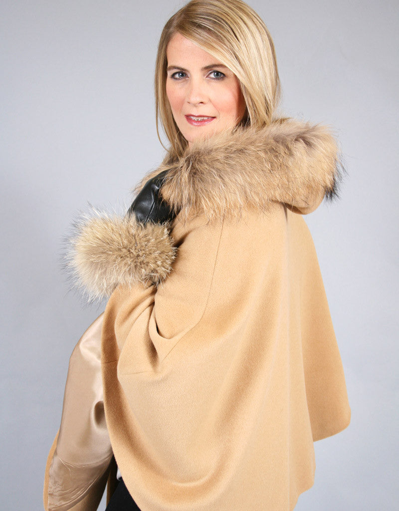 Buckle & Leather Detail Hooded Cape- Camel