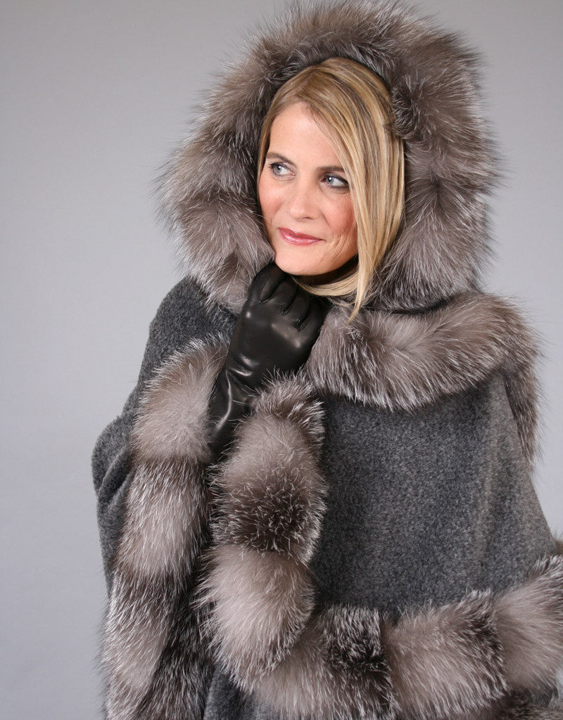 Full Band Hooded Alpaca Cape- Black Snow