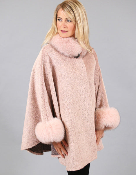 Alpaca blend cape with fox fur collar