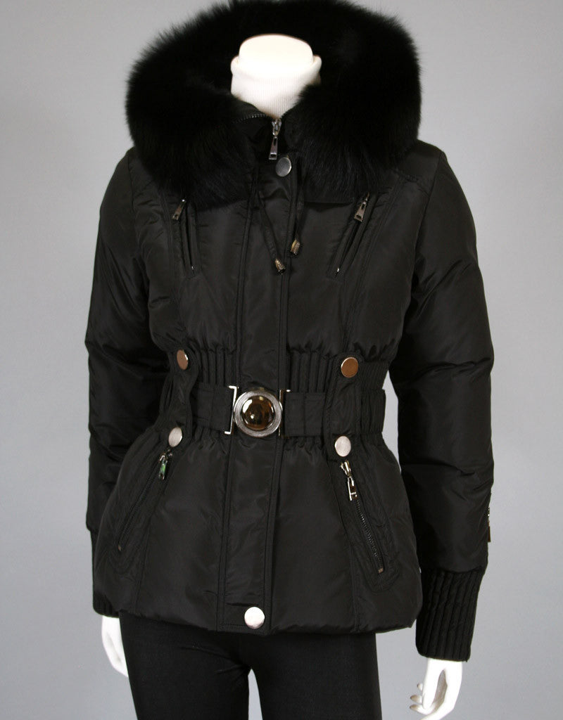 Belted Sporty Jacket-Black Silver
