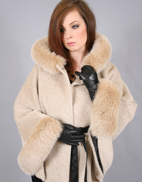 Belted Cape/ Jacket with Hood-Biege