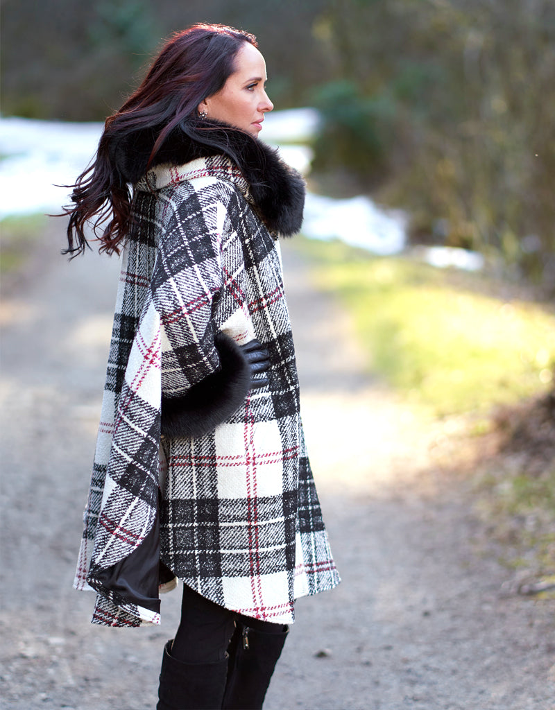 Luxe Hooded Cape- Black / White Plaid