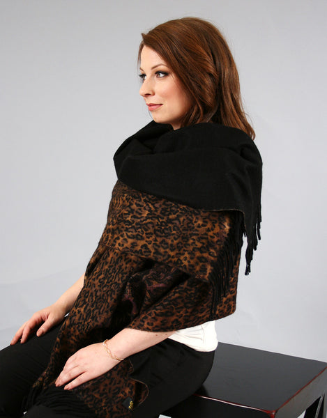 Printed Reversible Shawl-Rust Dkbrown