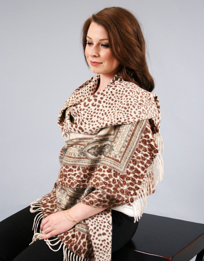 Printed Reversible Shawl-Wine