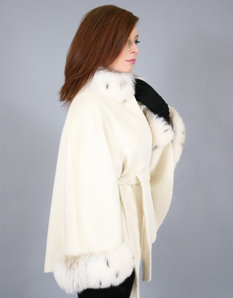 Belted Alpaca Cape/ Jacket-White