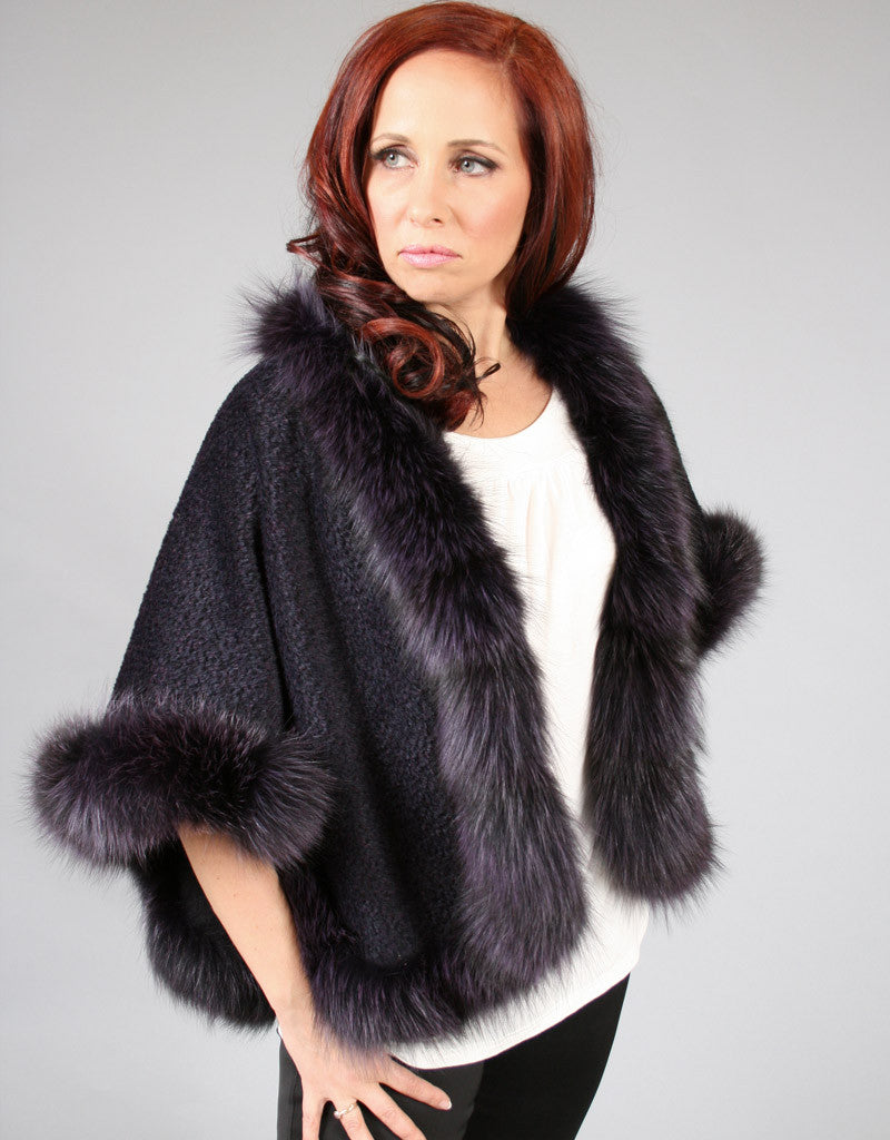 Petite Alpaca Cape with Fox Trim-Black Snow