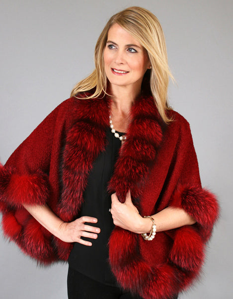 Petite Alpaca Cape with Fox Trim-Red