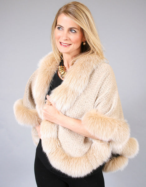 Petite Alpaca Cape with Fox Trim-Beige