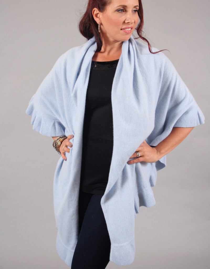 Beautiful Cashmere Ruffle Shawl-Baby Blue