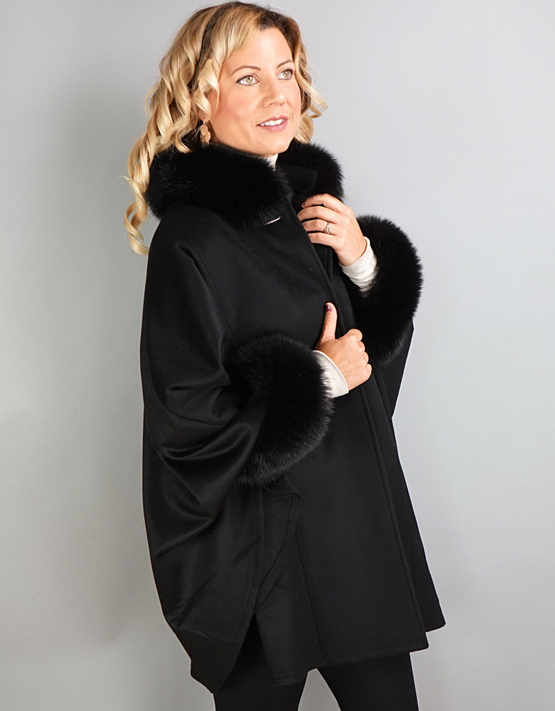 Cashmere Mandarin Collar Cape- Black