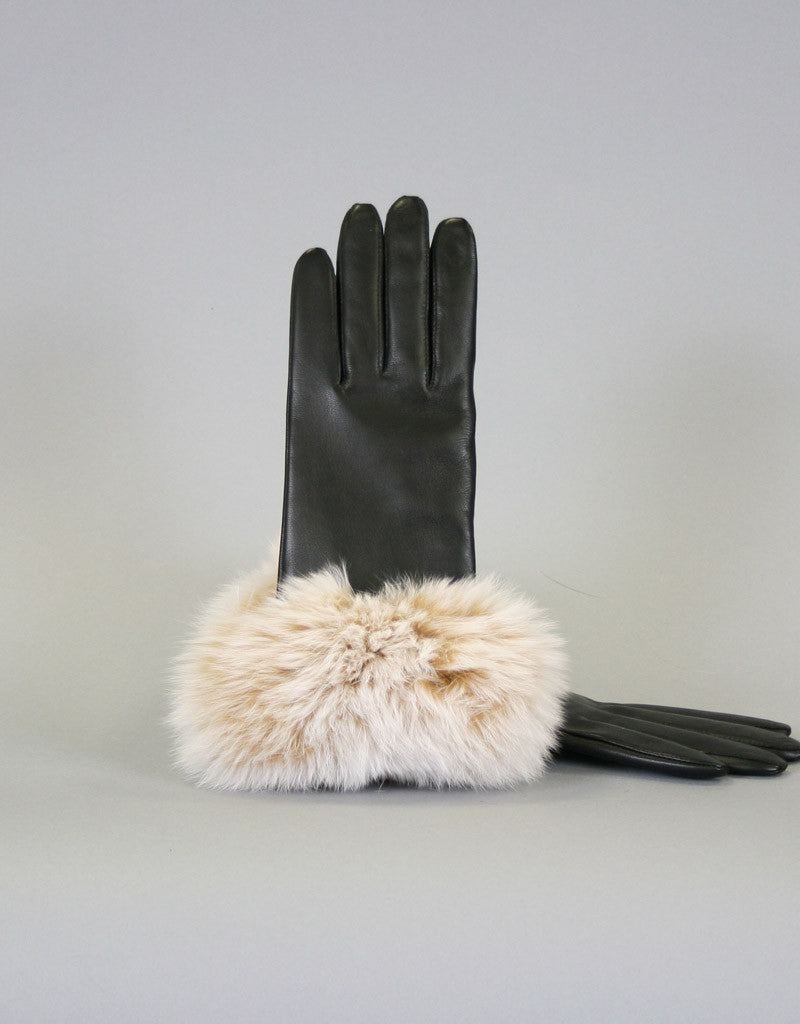 Fur Trim Leather Glove-B