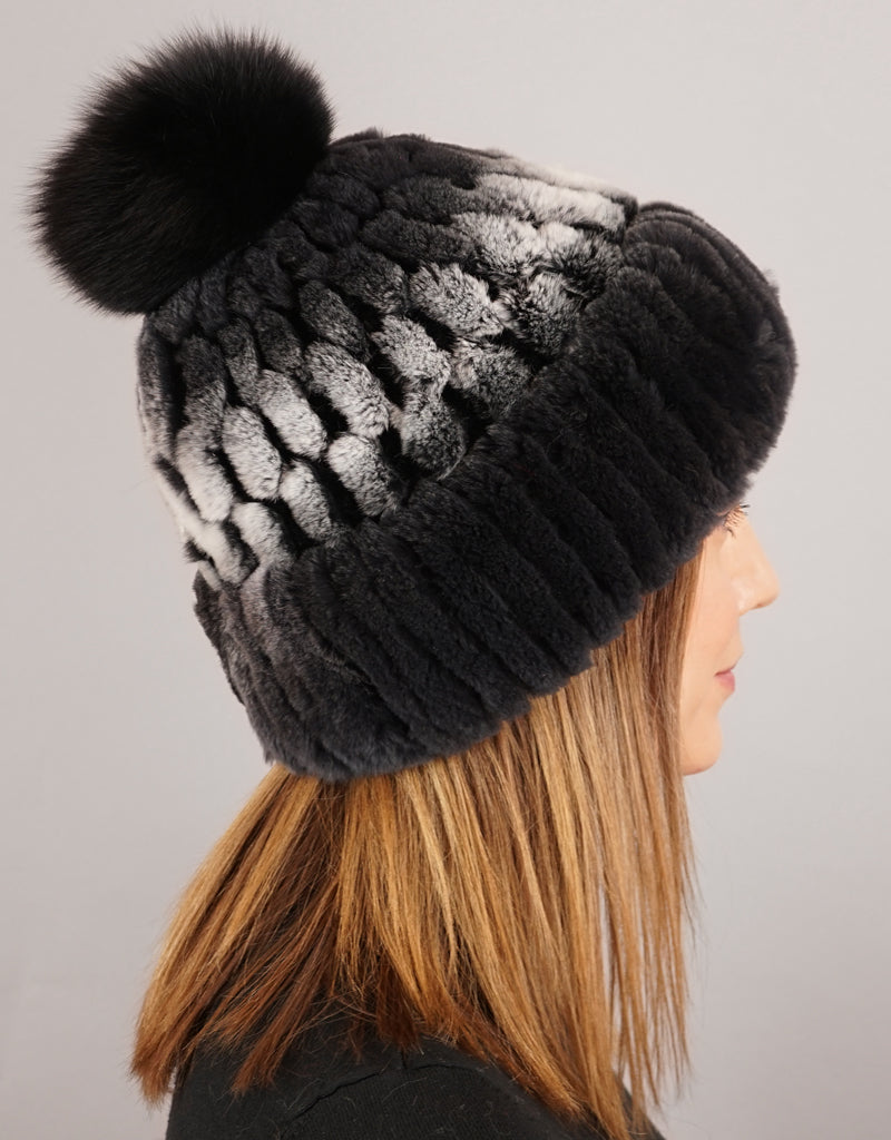 Cuff Cable Hat - Black Snow