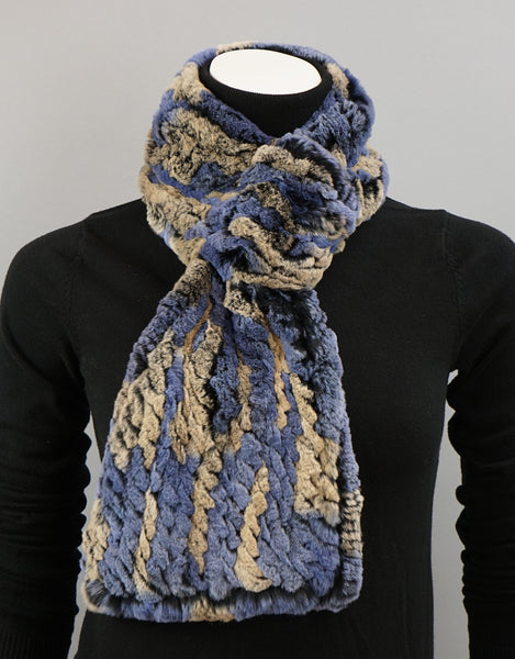 Cable Rex Scarf with Loop - Dusty Blue Mix