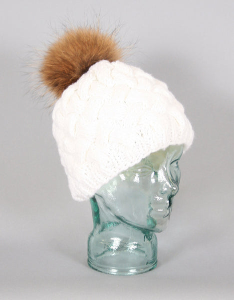Basket Weave Knit Hat-White