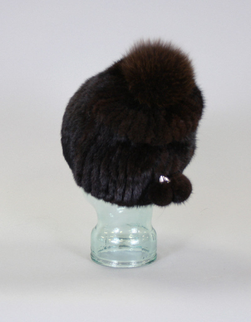 Draw Back Knit Mink Hat-Lite Coffee