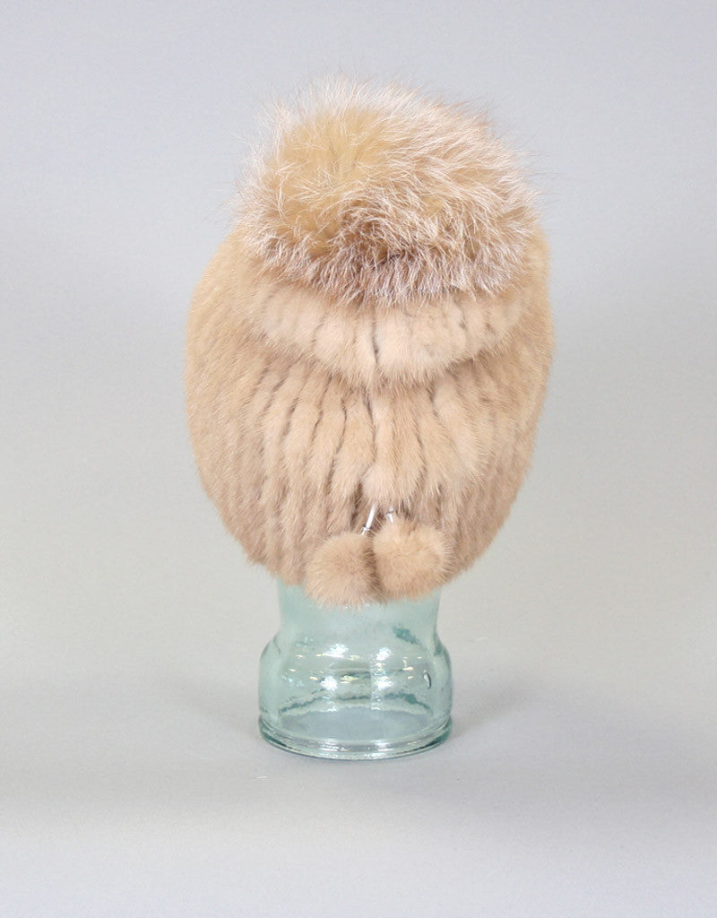 Draw Back Knit Mink Hat-Grey