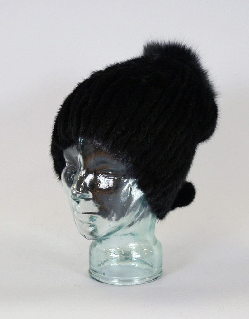 Draw Back Knit Mink Hat-Pearl