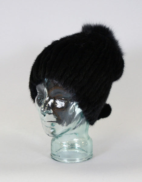 Draw Back Knit Mink Hat-Black