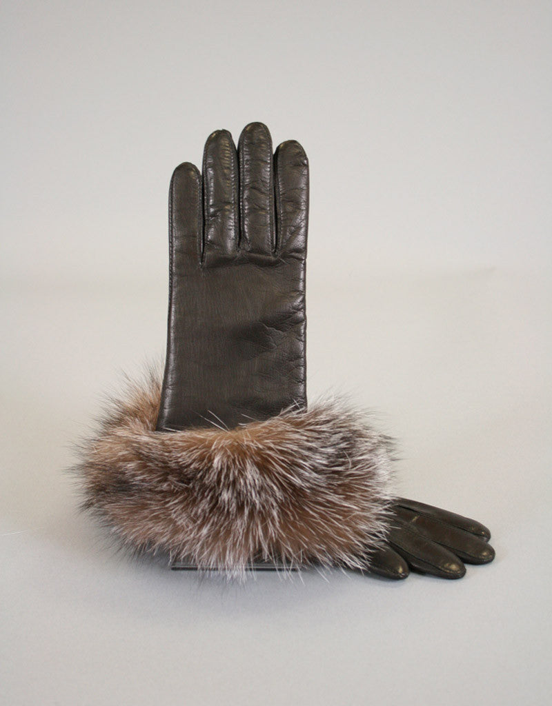 Cashmere Lined Fur Trim Glove-Black/ Crystal Fox