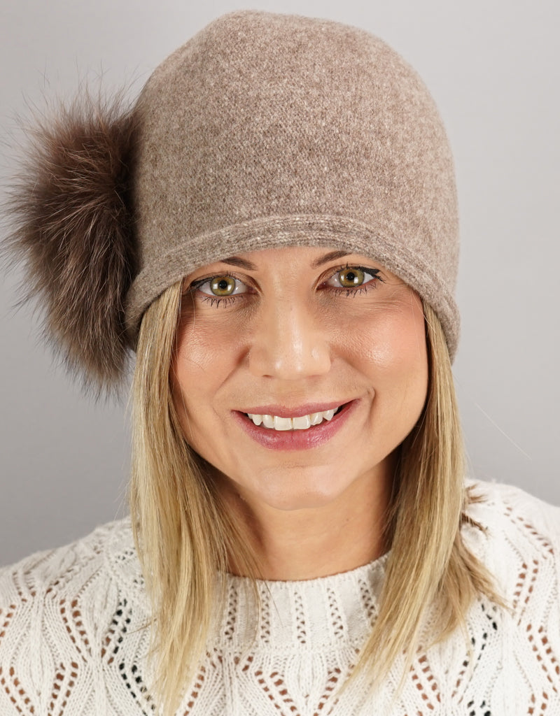 Cloche with Fox Applique - Cashmere/ Blush Fox