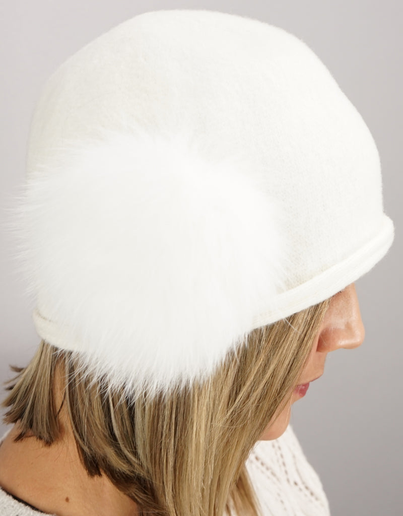 Cloche with Fox Applique - White / Match Fox