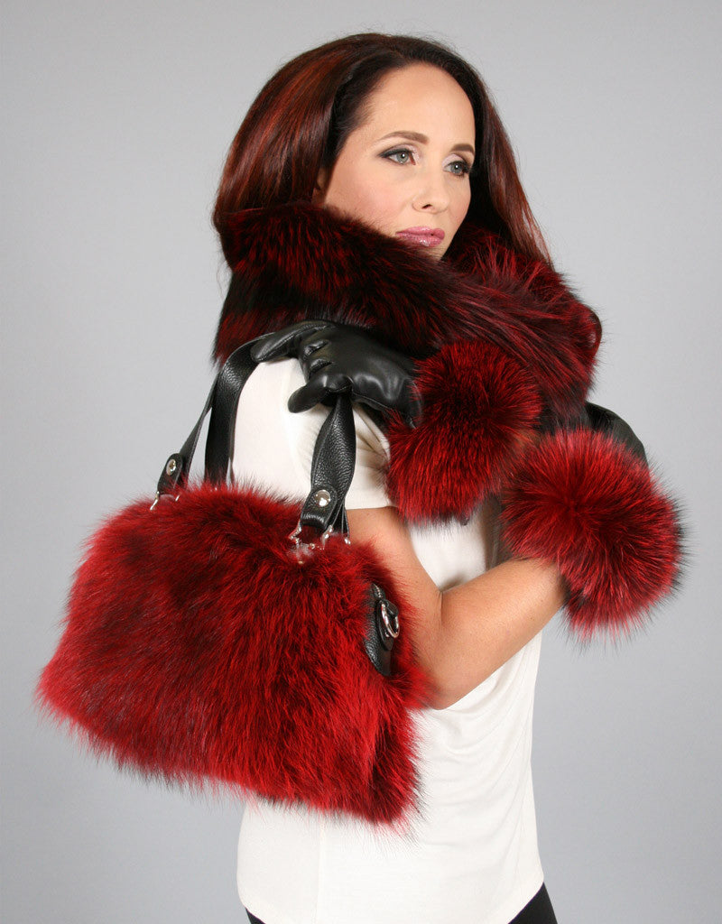 Double Handle Fur Bag-A