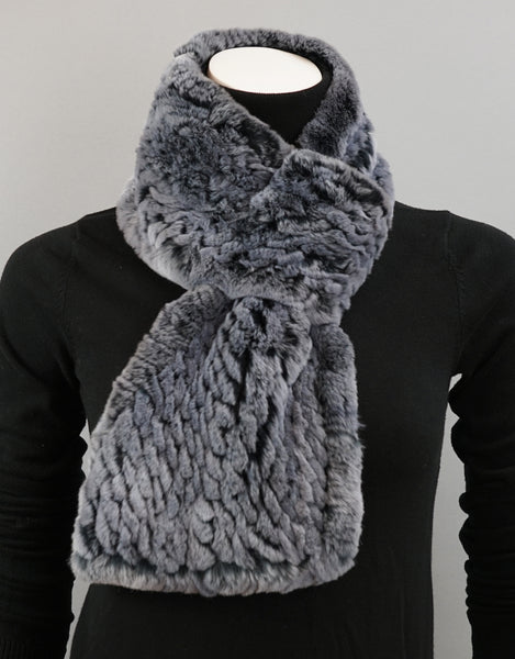 Cable Rex Scarf with Loop - Dusty Blue