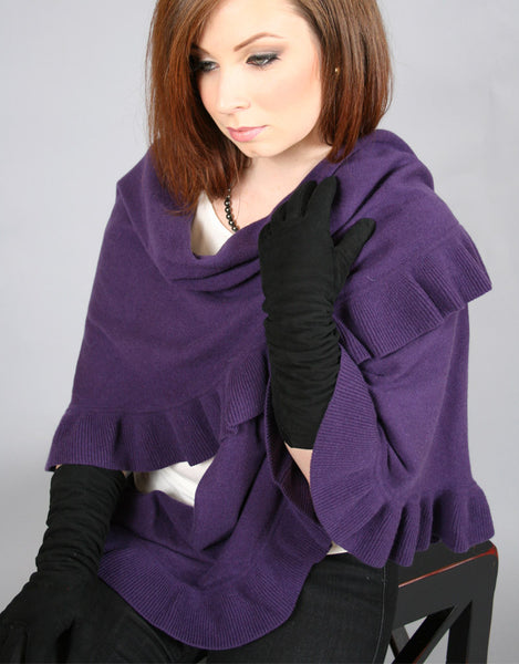 Beautiful Cashmere Ruffle Shawl-Dark Purple