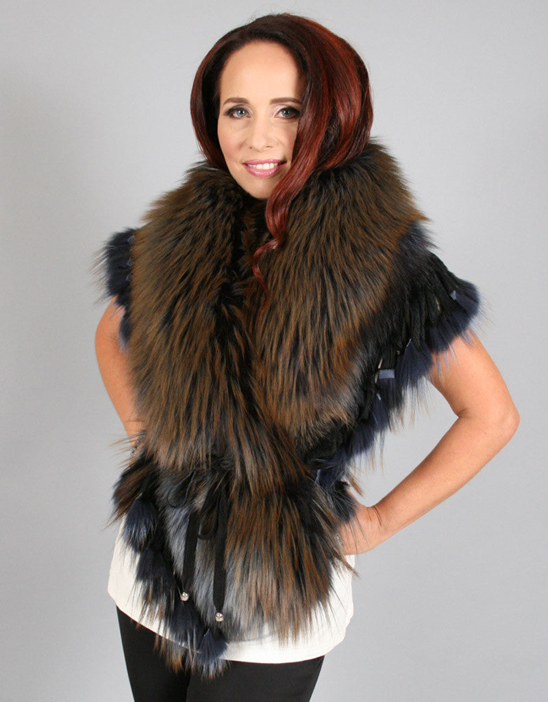Extravagant Belted Fringe Collar-Silver Brown