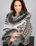 Oblong Wool Shawl-Grey/ Multi