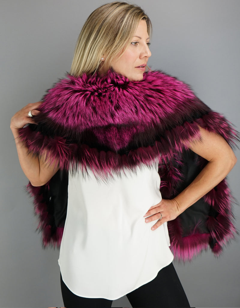 Belted Fringe Collar- Fuscia