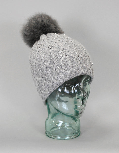 Angora Blend Pearl Hat with Fur Pom Pom- Grey