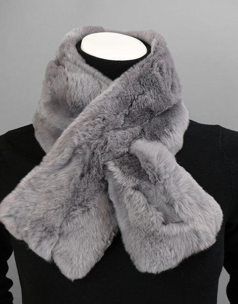 Soft Draw Rex Rabbit Scarf-Grey