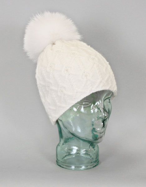 Angora Blend Pearl Hat with Fur Pom Pom- Ivory