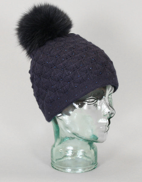 Angora Blend Sequin Hat with Fur Pom Pom -  Navy