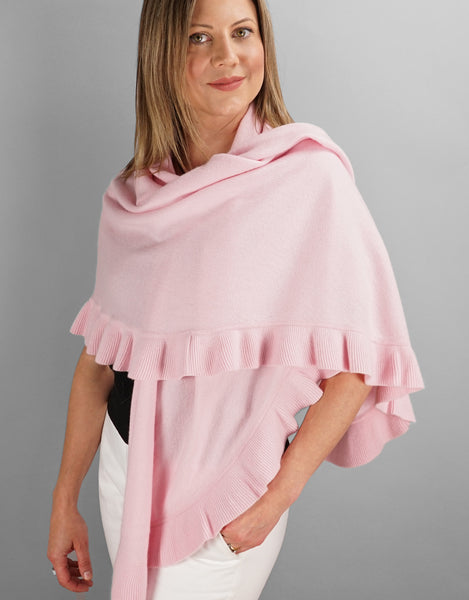 Beautiful Cashmere Ruffle Shawl- Pink