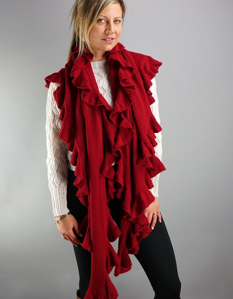 Cashmere Triangle Shawl- Red