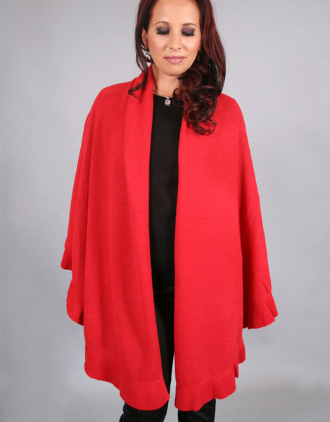 Beautiful Cashmere Ruffle Shawl-Cherry Red