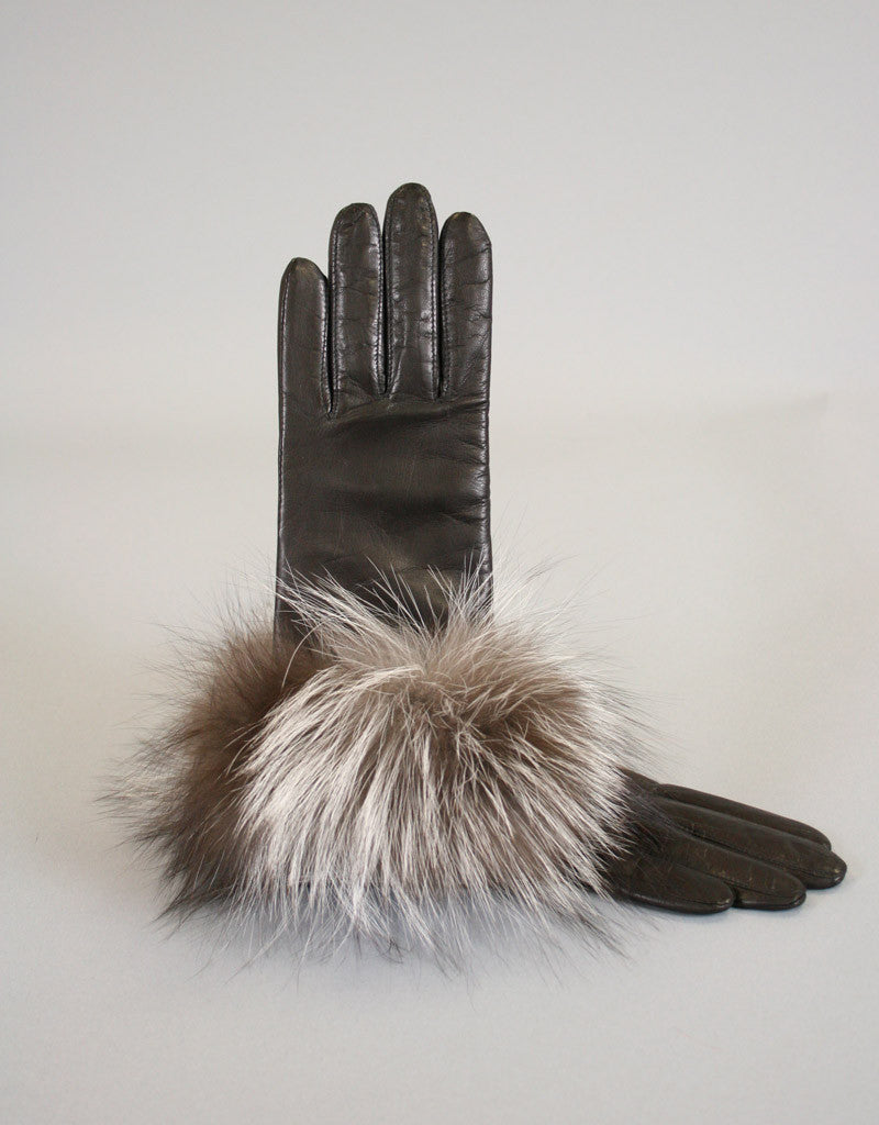 Cashmere Lined Fur Trim Glove-Black/ Pink Fox