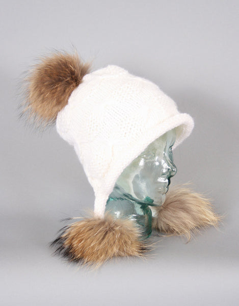 Tri Pom Knit Hat- White