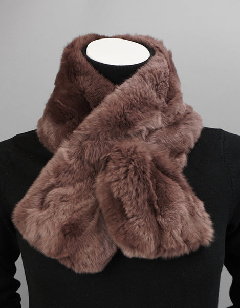 Soft Draw Rex Rabbit Scarf-Taupe
