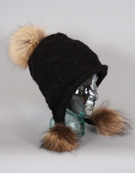 Tri Pom Knit Hat- Black