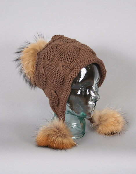 Tri Pom Knit Hat- Toffee