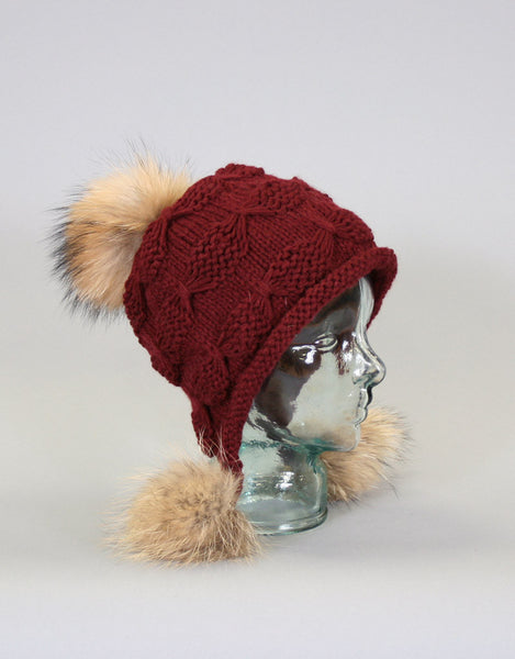 Tri Pom Knit Hat- Burgundy