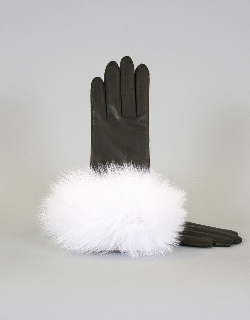 Cashmere Lined Fur Trim Glove-Black/ Silver Fox