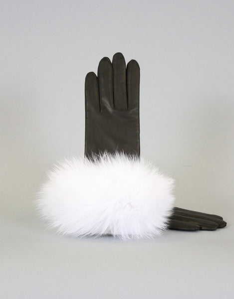 Cashmere Lined Fur Trim Glove-Black/ White Fox