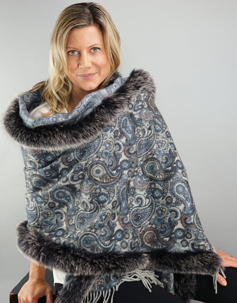 Printed Cashmere Shawl- Azure / Black Snow